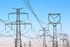 High voltage  electricity towers under sky Royalty Free Stock Image
