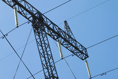 High Voltage Electricity Transmission Pylon Silhouetted Royalty Free Stock Photography