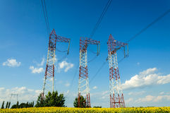 High voltage energy towers Stock Photo