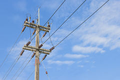 High voltage equipment on an electric pole Royalty Free Stock Photo