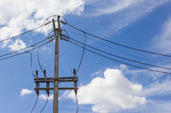 High voltage equipment on an electric pole Stock Images