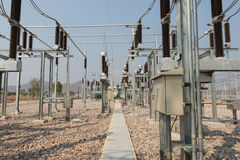 The high voltage equipment in the outdoor electrical substation Royalty Free Stock Photography
