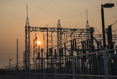 The high voltage equipment in the outdoor electrical substation Royalty Free Stock Images
