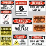 High voltage hazard warning sign concept poster Stock Photo