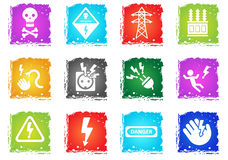 High voltage icon set Stock Photography
