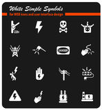 High voltage icon set Royalty Free Stock Photos