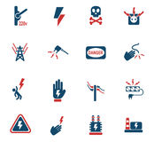 High voltage icon set. High voltage web icons for user interface design Stock Images