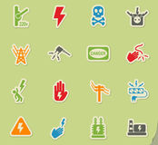High voltage icon set Royalty Free Stock Images