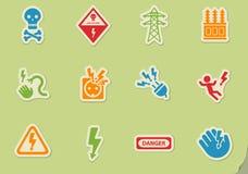 High voltage icon set Stock Photos