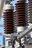 High Voltage Insulators. Close up of high voltage insulators in a new substation Royalty Free Stock Image