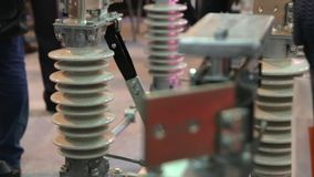 High Voltage Insulators. High voltage energy industrial electrical insulators technology parts stock video