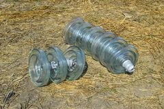High-voltage insulators of glass insulators. Installation of hig royalty free stock photography