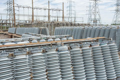 High voltage insulators. At new substation Royalty Free Stock Photos