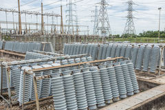 High voltage insulators. At new substation Royalty Free Stock Photography