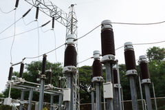 High voltage insulators at new substation Royalty Free Stock Photography