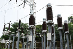 High voltage insulators at new substation Stock Images