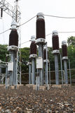 High voltage insulators at new substation Royalty Free Stock Photo