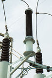 High voltage insulators. In a high-voltage power station Royalty Free Stock Image