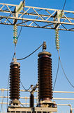 High-voltage insulators on transformer substation Royalty Free Stock Photos