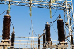 High-voltage insulators on transformer substation Stock Images