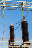 High-voltage insulators on transformer substation Royalty Free Stock Photography