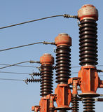High voltage isolation with ceramic body on blue sky Royalty Free Stock Photos
