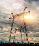 High voltage 750 Kv power line. Royalty Free Stock Photos