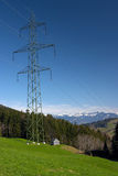 High voltage line. In Swiss Alps Stock Photography