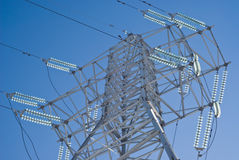 High-voltage line. High-voltage electric line and blue sky Royalty Free Stock Photo