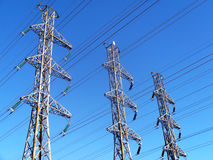 High-voltage line. This is high-voltage line on blue sky Royalty Free Stock Images