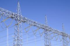 High voltage line. Big high voltage line on blue sky background. santral Royalty Free Stock Images
