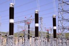High voltage line. Big high voltage line on blue sky background. santral Stock Image