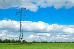 High-voltage line. Rural landscape with pillars of a line of a high-voltage stock photos