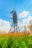 High voltage line and blue sky Stock Images