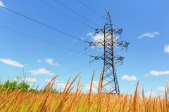 High voltage line and blue sky Royalty Free Stock Image