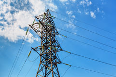 High voltage line and blue sky Royalty Free Stock Photo