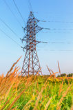 High voltage line and blue sky Stock Photography