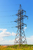 High voltage line and blue sky Royalty Free Stock Images