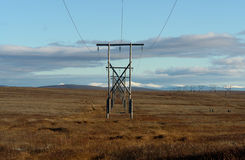 High-voltage line in the Chukchi tundra. Stock Photography