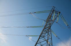 High voltage line between cities. Energy transmission from power plant to customers Stock Images