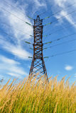 High voltage line and cloudy sky Royalty Free Stock Photo