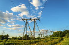 High voltage line construction Royalty Free Stock Photos