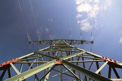 High Voltage Line And Dark Blue Sky Stock Image