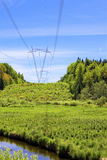 High-voltage line of electricity transmissions in Stock Photography