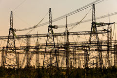 High-voltage line of electricity transmissions on Stock Photo