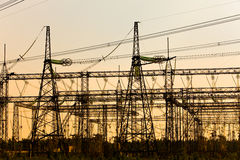 High-voltage line of electricity transmissions Royalty Free Stock Photo