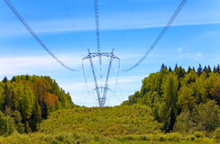 High-voltage line of electricity transmissions Stock Photo