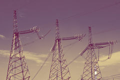 High-voltage line of electricity transmissions ,with  retro effect Stock Photo