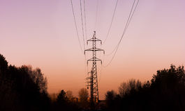 High-voltage line in the forest goes into the sunset Stock Photo
