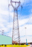 The high-voltage line iron tower. High point in the sky in the background of transmission tower Royalty Free Stock Photos